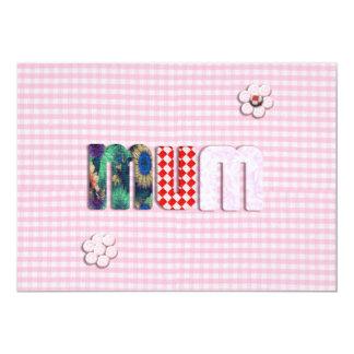 "Patchwork 'MUM'  on Pink Checkerboard 5"" X 7"" Invitation Card"