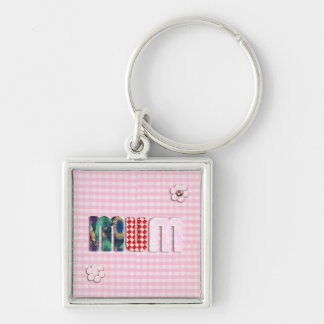 Patchwork MUM on Pink Checkerboard Key Chains