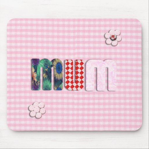 Patchwork 'MUM'  on Pink Checkerboard Mouse Pad