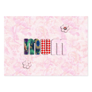 Patchwork 'MUM'  on Pink Rose Background Large Business Cards (Pack Of 100)
