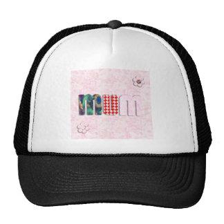 Patchwork 'MUM'  on Pink Rose Background Mesh Hat