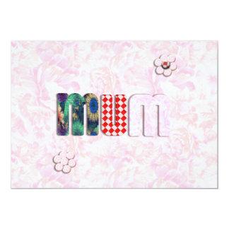 "Patchwork 'MUM'  on Pink Rose Background 5"" X 7"" Invitation Card"