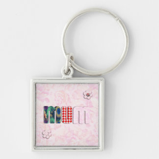 Patchwork MUM on Pink Rose Background Keychains