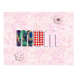 Patchwork 'MUM'  on Pink Rose Background Postcard