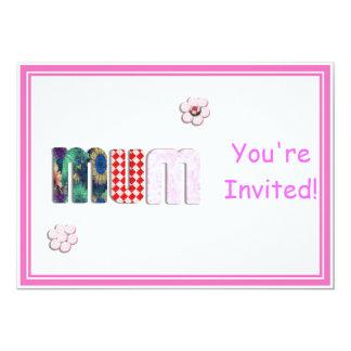"Patchwork 'MUM'  Text Design 5"" X 7"" Invitation Card"