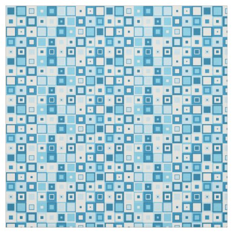 Patchwork of geometric funky blue squares fabric