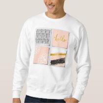Patchwork of modern pattern,coral pink,black,gold, sweatshirt
