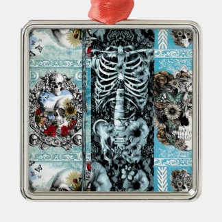 Patchwork, ornate skull collage metal ornament