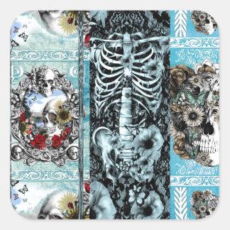 Patchwork, ornate skull collage square sticker