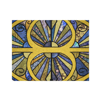 Patchwork Oval in Blue and Golds Canvas Print