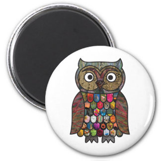 Patchwork Owl 2 Inch Round Magnet