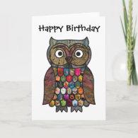 Patchwork Owl Birthday Card