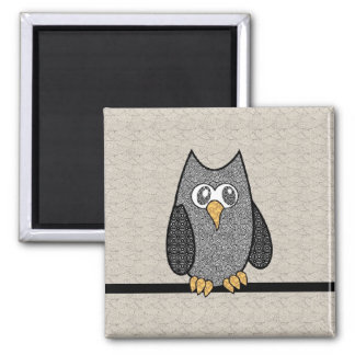 Patchwork Owl, Black and White with Tan Background 2 Inch Square Magnet