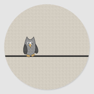 Patchwork Owl, Black and White with Tan Background Classic Round Sticker