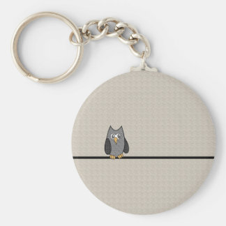Patchwork Owl, Black and White with Tan Background Keychain