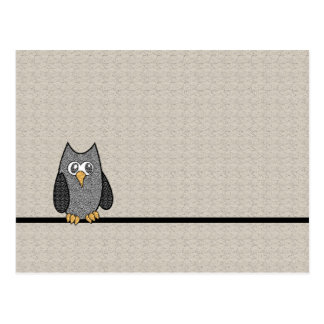 Patchwork Owl, Black and White with Tan Background Postcard