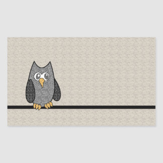 Patchwork Owl, Black and White with Tan Background Rectangular Sticker