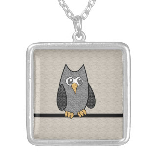 Patchwork Owl, Black and White with Tan Background Square Pendant Necklace