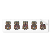 Patchwork Owl Bumper Sticker