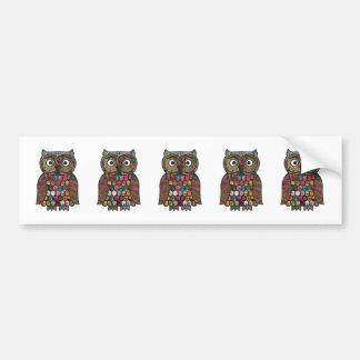 Patchwork Owl Car Bumper Sticker