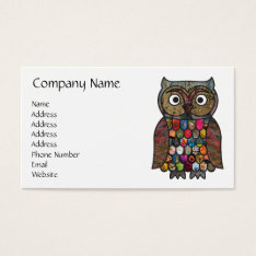 Patchwork Owl Business Card at Zazzle