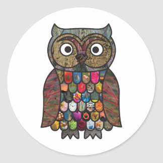 Patchwork Owl Classic Round Sticker