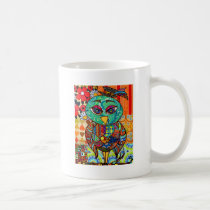 Patchwork owl collage coffee mug