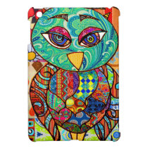 Patchwork owl collage cover for the iPad mini