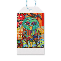 Patchwork owl collage gift tags