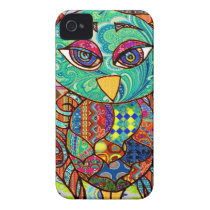 Patchwork owl collage iPhone 4 Case-Mate case