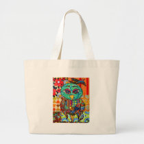 Patchwork owl collage large tote bag