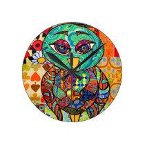 Patchwork owl collage round clock