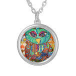 Patchwork owl collage silver plated necklace