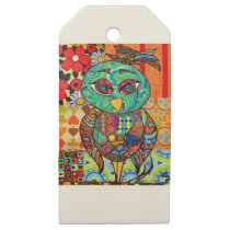 Patchwork owl collage wooden gift tags