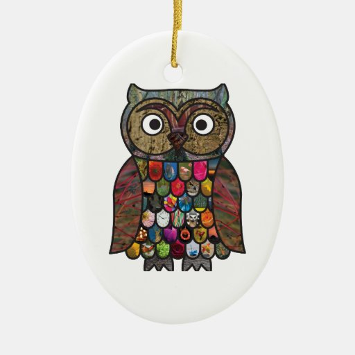 Patchwork Owl Double-Sided Oval Ceramic Christmas Ornament