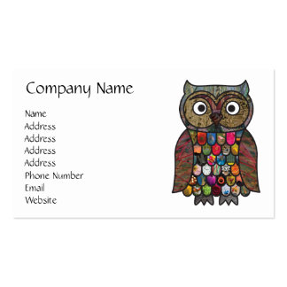 Patchwork Owl Double-Sided Standard Business Cards (Pack Of 100)