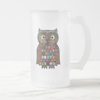 Patchwork Owl Frosted Glass Frosted Glass Beer Mug