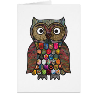 Patchwork Owl Greeting Card
