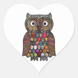 Patchwork Owl Heart Sticker