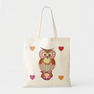 Patchwork owl hearts canvas bags