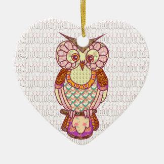 Patchwork owl hearts ceramic ornament