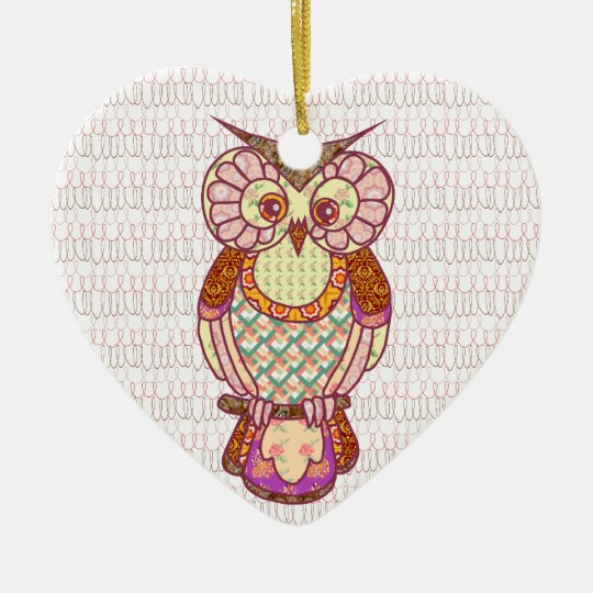 Patchwork owl hearts ceramic ornament