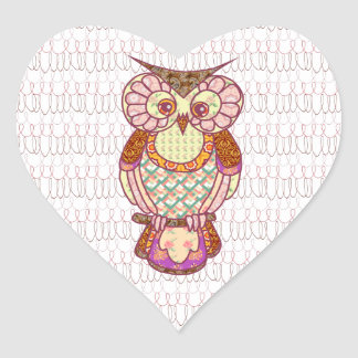 Patchwork owl hearts heart sticker