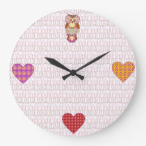 Patchwork owl hearts large clock