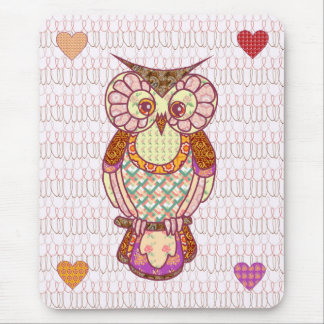 Patchwork owl hearts mouse pad