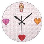 Patchwork owl hearts wallclocks