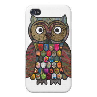 Patchwork Owl iPhone 4 Covers