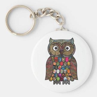 Patchwork Owl Key Chain