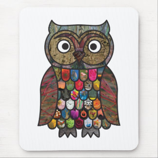 Patchwork Owl Mouse Pad