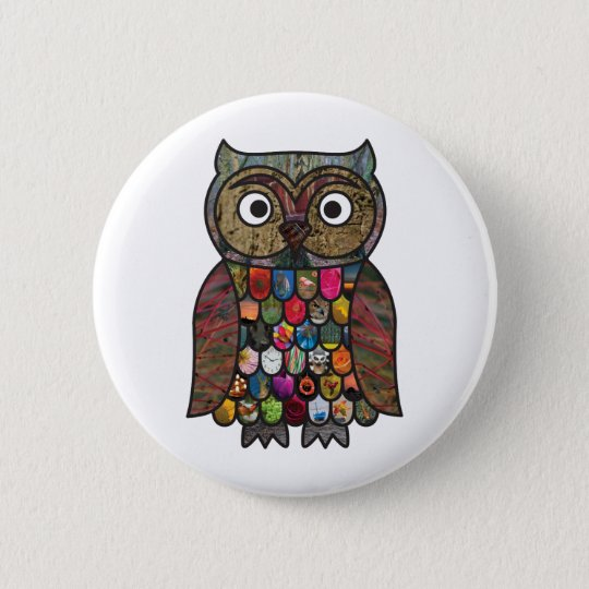 Patchwork Owl Pinback Button